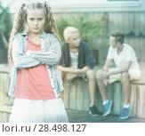 Купить «Upset girl after quarrel with playmates», фото № 28498127, снято 27 июля 2017 г. (c) Яков Филимонов / Фотобанк Лори