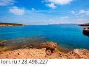 Купить «Ibiza Cala Bassa beach with turquoise Mediterranean sea at Balearic Islands», фото № 28498227, снято 7 июня 2013 г. (c) Ingram Publishing / Фотобанк Лори