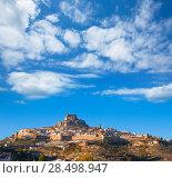 Morella village is Maestrazgo Castellon with castle in Spain. Стоковое фото, фотограф Tono Balaguer / Ingram Publishing / Фотобанк Лори