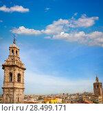 Купить «Santa Catalina church tower and Miguelete in Valencia historic downtown Spain», фото № 28499171, снято 19 апреля 2019 г. (c) Ingram Publishing / Фотобанк Лори