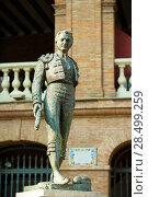 Купить «Plaza de toros de Valencia bullring with toreador statue of Manolo Montoliu», фото № 28499259, снято 28 августа 2008 г. (c) Ingram Publishing / Фотобанк Лори
