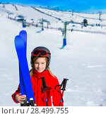 Купить «Kid girl winter snow with ski equipment helmet goggles poles», фото № 28499755, снято 26 января 2014 г. (c) Ingram Publishing / Фотобанк Лори