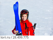 Купить «Kid girl winter snow with ski equipment helmet goggles poles», фото № 28499775, снято 26 января 2014 г. (c) Ingram Publishing / Фотобанк Лори