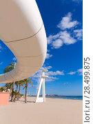 Купить «Alicante el Postiguet beach playa with modern pedestrian white bridge at Spain», фото № 28499875, снято 21 января 2014 г. (c) Ingram Publishing / Фотобанк Лори
