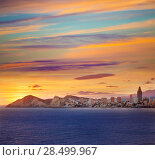 Купить «Benidorm Alicante sunset playa de Poniente beach in Spain Valencian community», фото № 28499967, снято 21 января 2014 г. (c) Ingram Publishing / Фотобанк Лори