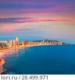 Benidorm sunset Alicante playa de Levante beach in spain Valencian community (2014 год). Стоковое фото, фотограф Tono Balaguer / Ingram Publishing / Фотобанк Лори