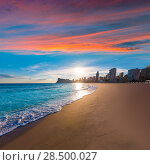 Купить «Benidorm Alicante playa de Poniente beach sunset in spain Valencian community», фото № 28500027, снято 21 января 2014 г. (c) Ingram Publishing / Фотобанк Лори