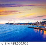 Купить «Benidorm Alicante sunset playa de Poniente beach in Spain Valencian community», фото № 28500035, снято 21 января 2014 г. (c) Ingram Publishing / Фотобанк Лори