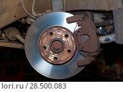 Купить «Car wheel brake rusty disc with pads rotor disc and caliper assembly», фото № 28500083, снято 26 октября 2013 г. (c) Ingram Publishing / Фотобанк Лори