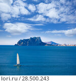 Купить «Ifach Penon view of calpe and Sailboat from Moraira in Mediterranean Alicante at Spain», фото № 28500243, снято 23 января 2014 г. (c) Ingram Publishing / Фотобанк Лори