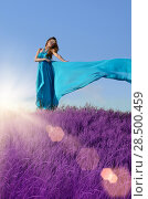 Купить «Young beautiful sensual woman in long dress», фото № 28500459, снято 30 июля 2013 г. (c) Ingram Publishing / Фотобанк Лори