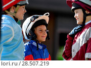 Купить «Pictured this afternoon - 17/10/16 Forget about the Grand National – the biggest horse-racing event on the calendar in Sussex starred junior jockeys racing...», фото № 28507219, снято 17 октября 2016 г. (c) age Fotostock / Фотобанк Лори