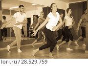 Купить «Couples dancing contemp in studio», фото № 28529759, снято 19 октября 2018 г. (c) Яков Филимонов / Фотобанк Лори