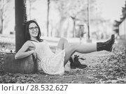 Купить «Portrait of a funny woman, model of fashion, with high heels moving her legs», фото № 28532627, снято 23 декабря 2013 г. (c) Ingram Publishing / Фотобанк Лори
