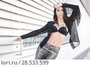 Купить «Portrait of young beautiful woman, model of fashion, wearing transparent shirt and black bra», фото № 28533599, снято 16 марта 2014 г. (c) Ingram Publishing / Фотобанк Лори