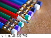 Купить «Pencils with an eraser on the end lie in a row. One pencil lies a core to us, small depth of sharpness», фото № 28533703, снято 5 марта 2016 г. (c) Куликов Константин / Фотобанк Лори