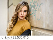 Купить «Blonde woman in urban background. Beautiful young girl wearing black leather jacket and mini skirt standing in the street. Pretty russian female with long wavy hair hairstyle and blue eyes.», фото № 28536015, снято 24 января 2017 г. (c) Ingram Publishing / Фотобанк Лори