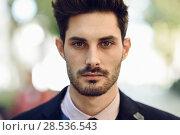 Купить «Close-up of attractive man in the street in formalwear. », фото № 28536543, снято 18 ноября 2017 г. (c) Ingram Publishing / Фотобанк Лори