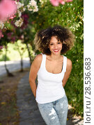 Купить «Young black woman with afro hairstyle smiling in urban park. Mixed girl wearing casual clothes.», фото № 28536683, снято 14 июня 2016 г. (c) Ingram Publishing / Фотобанк Лори