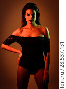 Купить «Young brunette woman in black lingerie with red and green lighting», фото № 28537131, снято 28 ноября 2017 г. (c) Ingram Publishing / Фотобанк Лори