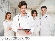 Купить «Portrait of group of medical workers in hospital», фото № 28537795, снято 14 января 2014 г. (c) Ingram Publishing / Фотобанк Лори