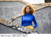 Купить «Beautiful young African American woman, model of fashion, with afro hairstyle and green eyes wearing blue sweater and yellow skirt in urban background», фото № 28537927, снято 25 ноября 2015 г. (c) Ingram Publishing / Фотобанк Лори
