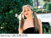 Купить «Beautiful and fashion girl with pigtails», фото № 28538015, снято 4 декабря 2011 г. (c) Ingram Publishing / Фотобанк Лори