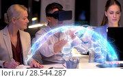 Купить «business team with vr headset and earth projection», видеоролик № 28544287, снято 22 мая 2019 г. (c) Syda Productions / Фотобанк Лори