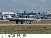 Купить «Российский многоцелевого истребителя пятого поколения Су-57( ПАК ФА, Т-50) разгоняется по взлётной полосе, Международный авиационно-космический салон МАКС-2015», фото № 28544451, снято 23 августа 2015 г. (c) Малышев Андрей / Фотобанк Лори