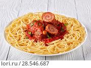 Купить «Italian Braciole with pasta on a plate», фото № 28546687, снято 25 мая 2018 г. (c) Oksana Zh / Фотобанк Лори
