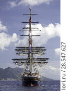 Купить «The Stad Amsterdam, a three-masted clipper, off the coast of  Dominica, January 2015.», фото № 28547627, снято 16 августа 2018 г. (c) Nature Picture Library / Фотобанк Лори