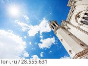 Купить «Notre-Dame de Fourviere basilica against blue sky», фото № 28555631, снято 14 июля 2017 г. (c) Сергей Новиков / Фотобанк Лори