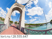 Купить «Passerelle du College footbridge over Rhone, Lyon», фото № 28555647, снято 14 июля 2017 г. (c) Сергей Новиков / Фотобанк Лори