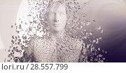 Close-up of pixelated gray 3d man. Стоковое фото, агентство Wavebreak Media / Фотобанк Лори