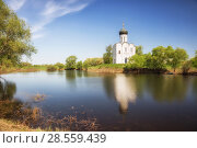 Купить «Церковь Покрова на Нерли, весенний пейзаж», фото № 28559439, снято 15 мая 2018 г. (c) Юлия Бабкина / Фотобанк Лори