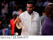 Купить «Celebrities at the Lakers game. The Los Angeles Lakers defeated the Golden State Warriors by the final score of 117-97 at Staples Center in downtown Los...», фото № 28564071, снято 4 ноября 2016 г. (c) age Fotostock / Фотобанк Лори