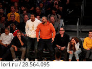 Купить «Celebrities at the Lakers game. The Los Angeles Lakers defeated the Golden State Warriors by the final score of 117-97 at Staples Center in downtown Los...», фото № 28564095, снято 4 ноября 2016 г. (c) age Fotostock / Фотобанк Лори