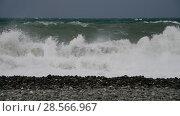 Купить «Fragment of Black Sea during the storm», видеоролик № 28566967, снято 30 мая 2018 г. (c) Володина Ольга / Фотобанк Лори