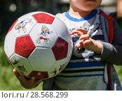Купить «Футбольный мяч с символикой Чемпионата мира по футболу 2018 года в России в руках маленького мальчика», эксклюзивное фото № 28568299, снято 1 июня 2018 г. (c) Игорь Низов / Фотобанк Лори
