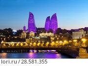 Купить «Вид на Огненные башни. Баку. Азербайджан», фото № 28581355, снято 22 сентября 2017 г. (c) Евгений Ткачёв / Фотобанк Лори