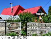 Купить «modern one-storey house outside the fence of Russia», фото № 28582463, снято 26 мая 2018 г. (c) Володина Ольга / Фотобанк Лори