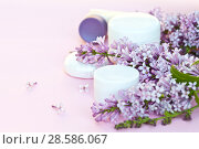 Купить «Natural floral fragrance cosmetics and spring blooming lilac. Jars with a rejuvenating cream and moisturizing flavored soap on a light pink background. Empty space for text», фото № 28586067, снято 13 июня 2018 г. (c) Виктория Катьянова / Фотобанк Лори