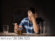 Купить «drunk man drinking alcohol and smoking cigarette», фото № 28586523, снято 24 ноября 2017 г. (c) Syda Productions / Фотобанк Лори
