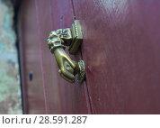 Купить «Vinous old door with doorknocker», фото № 28591287, снято 16 сентября 2017 г. (c) Ирина Аринина / Фотобанк Лори