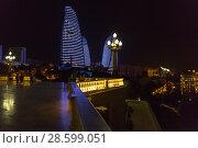 Купить «Ночной вид на башни Flame Towers - Огненные Башни. Баку. Азербайджан», фото № 28599051, снято 23 сентября 2017 г. (c) Евгений Ткачёв / Фотобанк Лори