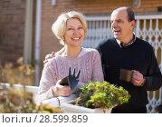 Купить «Mature cuople talking at balcon», фото № 28599859, снято 16 октября 2018 г. (c) Яков Филимонов / Фотобанк Лори
