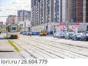 Купить «Трамвай № 17 на улице Менжинского. Москва», эксклюзивное фото № 28604779, снято 21 августа 2010 г. (c) Алёшина Оксана / Фотобанк Лори