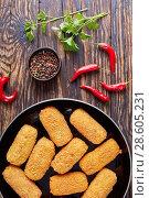 Купить «spanish deep-fried potato croquettes, top view», фото № 28605231, снято 8 июня 2018 г. (c) Oksana Zh / Фотобанк Лори