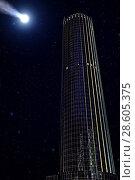 Купить «Comet over a modern skyscraper», фото № 28605375, снято 19 мая 2015 г. (c) Евгений Ткачёв / Фотобанк Лори