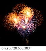 Купить «Celebratory firework in a night sky», фото № 28605383, снято 15 октября 2018 г. (c) ElenArt / Фотобанк Лори